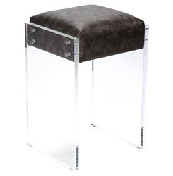 Modern Hollywood Regency Black Faux Leather Acrylic Vanity Counter Stool