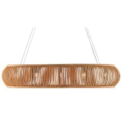 Melody Coastal Beach Natural Brown Rattan Oval Chandelier