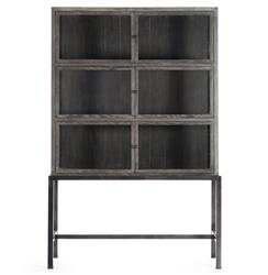 Hazel Creek Industrial Loft Brown Oak Iron Base Display Cabinet