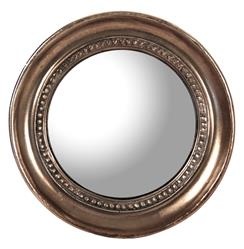 Julian Antique Bronze Distressed Small Round Convex Mirror - 7.25D