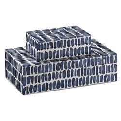 Halsey Modern Classic Navy Blue Bone Rectangular Decorative Box - Set of 2