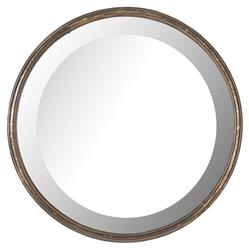 Libby Hollywood Regency Thin Frame Antique Bronze Round Wall Mirror - 14 Inch - 14D