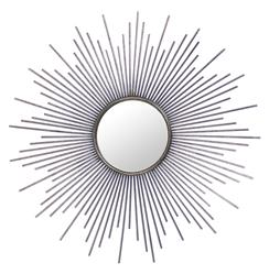Marlie Hollywood Regency Antique Silver Sunburst Mirror