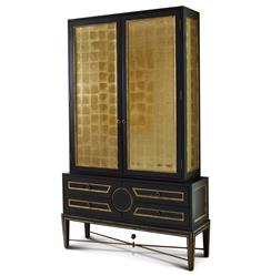 Rutherford Hollywood Regency Black Gold Leaf Eglomise Collector's Cabinet