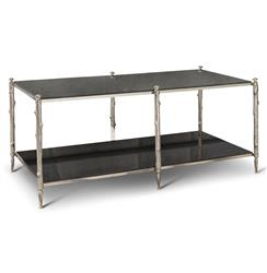 Spring Lake Coastal Beach Twig Black Marble Silver Coffee Table | GV-8.82039