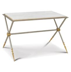 Williamsburg Hollywood Regency Gold White Marble Silver Campaign Coffee Table | GV-8.82033