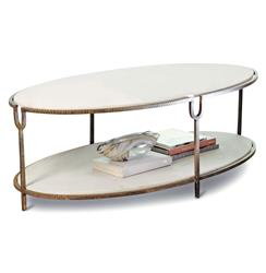 Katherine Hollywood Regency Ivory Stone Oval Coffee Table | GV-9.91786