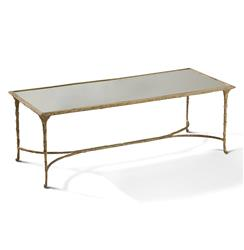 Delano Hollywood Regency Antique Gold Sculpted Leaf Mirrored Rectangular Coffee Table