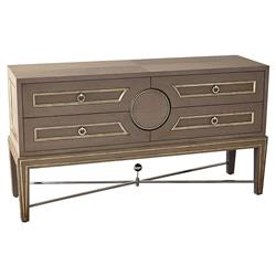 Rutherford Hollywood Regency Grey Silver Gilt Collectors Console Bachelor Chest