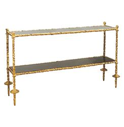 Duchess Hollywood Regency Chiseled Gold Black Marble Console Table
