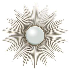 Alessandra Hollywood Regency Silver Sunburst Convex Mirror