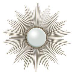Alessandra Hollywood Regency Silver Sunburst Convex Wall Mirror