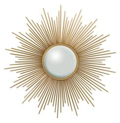Alessandra Hollywood Regency Gold Sunburst Convex Mirror