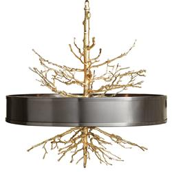 Bijou Tree Branch Hollywood Regency Brass Bronze Ceiling Pendant Lamp
