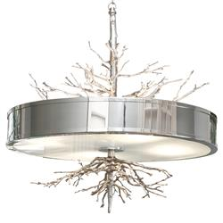 Bijou Tree Branch Hollywood Regency Silver Nickel Ceiling Pendant Lamp