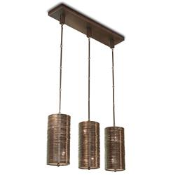 Farley Hollywood Regency Antique Bronze Coiled 3 Light Dining Island Pendant