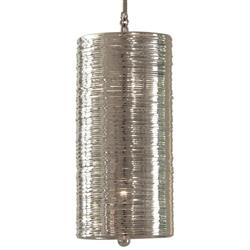 Farley Hollywood Regency Polished Nickel Coiled 1 Light Pendant Fixture