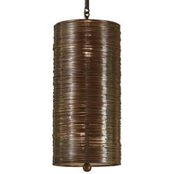Farley Hollywood Regency Antique Bronze Coiled 1 Light Pendant Fixture