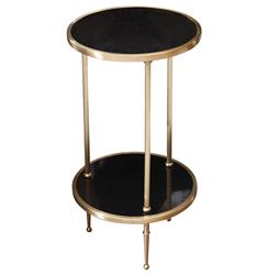 Trianon Hollywood Regency Brass Black Marble Side Table