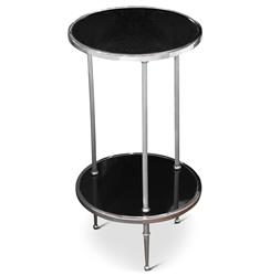 Trianon Hollywood Regency Silver Black Marble Side Table