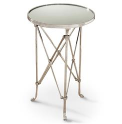 Directors Cut Hollywood Regency Silver Mirror Round End Table