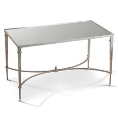Antibes French Art Deco Regency Style Silver Mirrored End Table