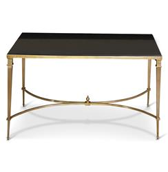 Antibes French Art Deco Regency Style Brass Black Granite End Table