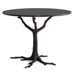 Bijou Global Bazaar Black Tree Branch Iron Marble Petite Round Dining Table
