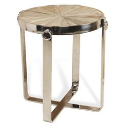 Zanuso Industrial Reclaimed Elm Stainless Steel Circular Side Table