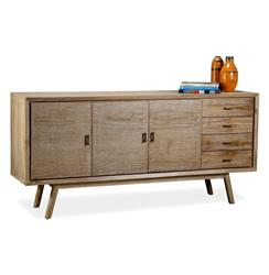 Cape Cod Whitewash Coastal Beach Modern Sideboard Entertainment Console | 185092