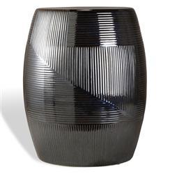 Black Pearl Coastal Style Glazed Barrel Side Table