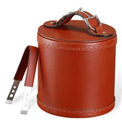 Derby Rustic Lodge Ox Blood Leather Nickel Ice Bucket Tong Set | 685034
