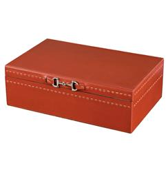 Metro Rustic Lodge Vermillion Red Leather Accessory Box | 925068