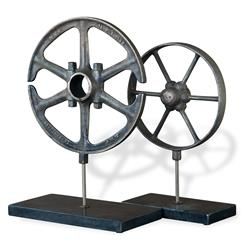 Perriand Industrial Loft Style Wheel Antique Iron Sculptures - Set of 2