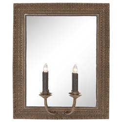 Clavier French Country Antique Brass Mirror 2 Light Candlestick Sconce