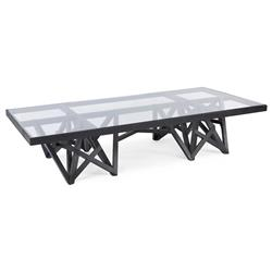 Zimoun Industrial Loft Glass Black Wood Rectangular Coffee Table