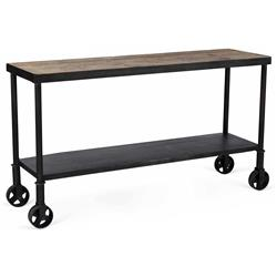 Belker Industrial Loft Reclaimed Wood Iron Casters Cart Console Table
