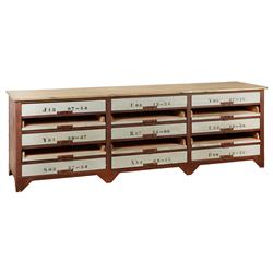 Norden Industrial Loft Iron 15 Drawer Wood Console Sideboard
