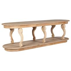 Marcel French Country White Washed Wood Oval Console Table