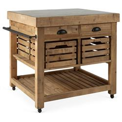 Belaney Rustic Lodge Honey Pine Wood Blue Stone 37 Inch Kitchen Island