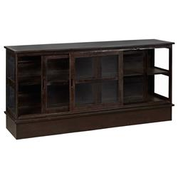 Grinnell Rustic Lodge Iron Glass Door Display TV Cabinet