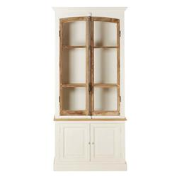 Luella French Country Rustic White Wood 2 Glass Door Display Cabinet