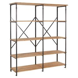 Jameson Industrial Loft Aged Pine Wood Black Metal Display Bookcase