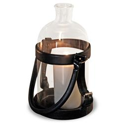 Sven Rustic Lodge Glass Leather Lantern Candle Holder - 16 Inch