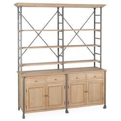 Livre French Country Iron Pine Wood Large Bookcase