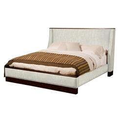 Katrina Wing Back Fawn Upholstered Espresso Queen Bed