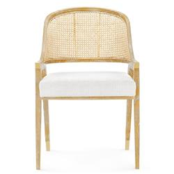 Erwin Modern Classic Ivory Cushion Woven Cane Brown Wood Dining Arm Chair