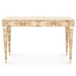 Bungalow 5 Helena Mid Century Modern Beige Burl Wood Burl Brushed Brass Accent Office Desk