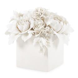 Bungalow 5 Peony Modern Classic White Floral Bouquet Porcelain Sculpture