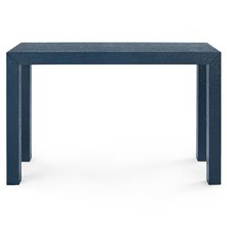 Bungalow 5 Parsons Modern Classic Blue Grasscloth Wood Rectangular Console Table